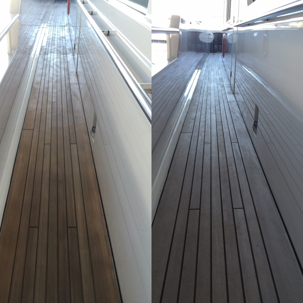 Before and After Teak Deck Sanding